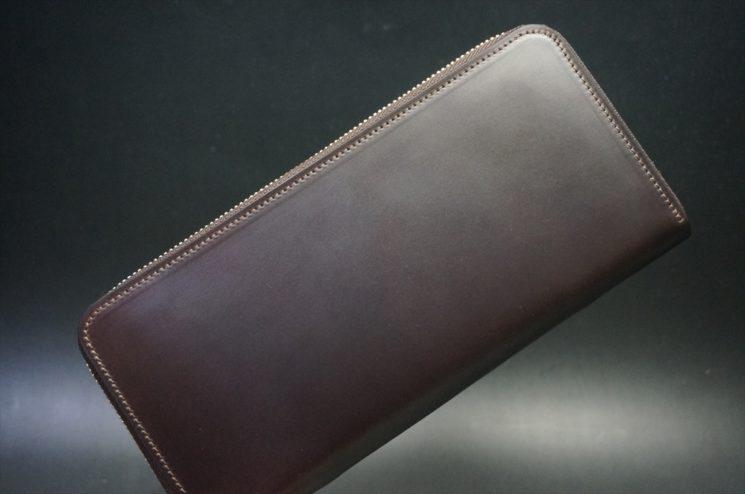レーデルオガワ社製オイルコードバンのバーガンディ色のラウンドファスナー長財布(ゴールド色)-1-1