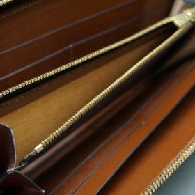 レーデルオガワ社製オイルコードバンのバーガンディ色のラウンドファスナー長財布(ゴールド色)-1-10
