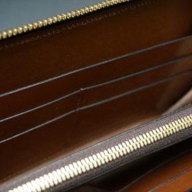 レーデルオガワ社製オイルコードバンのバーガンディ色のラウンドファスナー長財布(ゴールド色)-1-11