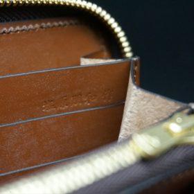 レーデルオガワ社製オイルコードバンのバーガンディ色のラウンドファスナー長財布(ゴールド色)-1-12