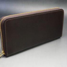 レーデルオガワ社製オイルコードバンのバーガンディ色のラウンドファスナー長財布(ゴールド色)-1-2