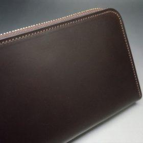 レーデルオガワ社製オイルコードバンのバーガンディ色のラウンドファスナー長財布(ゴールド色)-1-3
