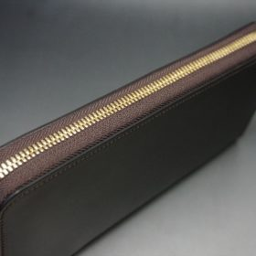 レーデルオガワ社製オイルコードバンのバーガンディ色のラウンドファスナー長財布(ゴールド色)-1-4