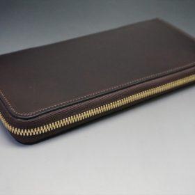 レーデルオガワ社製オイルコードバンのバーガンディ色のラウンドファスナー長財布(ゴールド色)-1-5