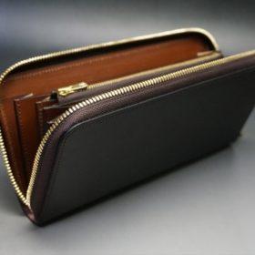 レーデルオガワ社製オイルコードバンのバーガンディ色のラウンドファスナー長財布(ゴールド色)-1-8