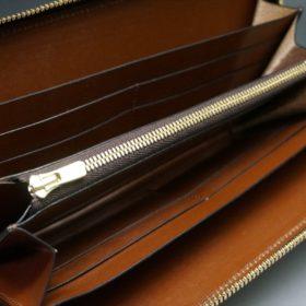 レーデルオガワ社製オイルコードバンのバーガンディ色のラウンドファスナー長財布(ゴールド色)-1-9