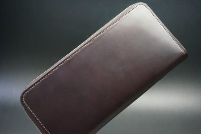 レーデルオガワ社製オイルコードバンのバーガンディ色のラウンドファスナー長財布(シルバー色)-1-1