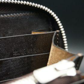 レーデルオガワ社製オイルコードバンのバーガンディ色のラウンドファスナー長財布(シルバー色)-1-10