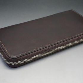 レーデルオガワ社製オイルコードバンのバーガンディ色のラウンドファスナー長財布(シルバー色)-1-5