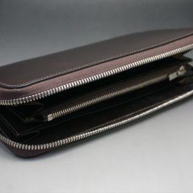 レーデルオガワ社製オイルコードバンのバーガンディ色のラウンドファスナー長財布(シルバー色)-1-6