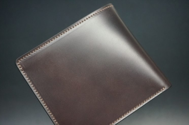 レーデルオガワ社製オイル仕上げコードバンのバーガンディ色の二つ折り財布(ゴールド色)-1-1