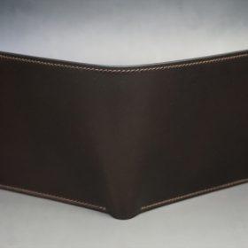 レーデルオガワ社製オイル仕上げコードバンのバーガンディ色の二つ折り財布(ゴールド色)-1-2