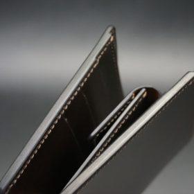 レーデルオガワ社製オイル仕上げコードバンのバーガンディ色の二つ折り財布(ゴールド色)-1-3
