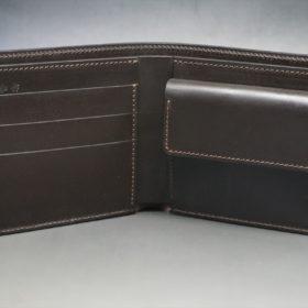 レーデルオガワ社製オイル仕上げコードバンのバーガンディ色の二つ折り財布(ゴールド色)-1-5