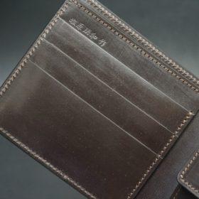 レーデルオガワ社製オイル仕上げコードバンのバーガンディ色の二つ折り財布(ゴールド色)-1-6