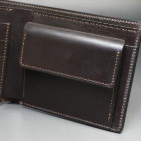 レーデルオガワ社製オイル仕上げコードバンのバーガンディ色の二つ折り財布(ゴールド色)-1-7
