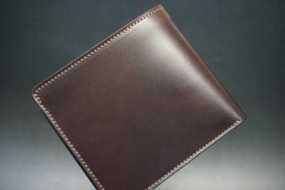 レーデルオガワ社製オイル仕上げコードバンのバーガンディ色の二つ折り財布(ゴールド色)-2-1