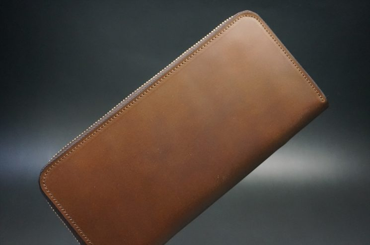レーデルオガワ社製オイルコードバンのコーヒーブラウン色のラウンドファスナー長財布(ゴールド色)-1-1