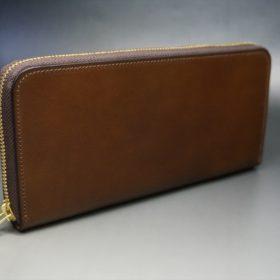 レーデルオガワ社製オイルコードバンのコーヒーブラウン色のラウンドファスナー長財布(ゴールド色)-1-2