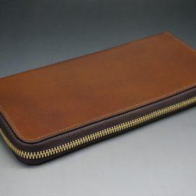 レーデルオガワ社製オイルコードバンのコーヒーブラウン色のラウンドファスナー長財布(ゴールド色)-1-4