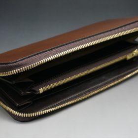 レーデルオガワ社製オイルコードバンのコーヒーブラウン色のラウンドファスナー長財布(ゴールド色)-1-5
