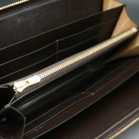 レーデルオガワ社製オイルコードバンのコーヒーブラウン色のラウンドファスナー長財布(ゴールド色)-1-6