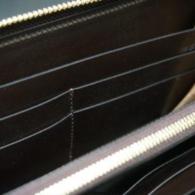 レーデルオガワ社製オイルコードバンのコーヒーブラウン色のラウンドファスナー長財布(ゴールド色)-1-8