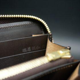 レーデルオガワ社製オイルコードバンのコーヒーブラウン色のラウンドファスナー長財布(ゴールド色)-1-9
