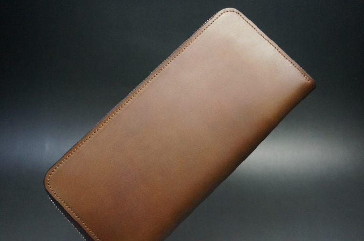 レーデルオガワ社製オイルコードバンのコーヒーブラウン色のラウンドファスナー長財布(シルバー色)-1-1