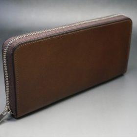 レーデルオガワ社製オイルコードバンのコーヒーブラウン色のラウンドファスナー長財布(シルバー色)-1-2