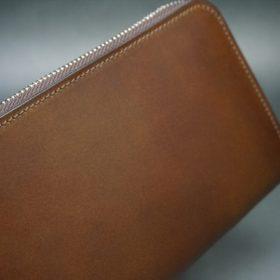 レーデルオガワ社製オイルコードバンのコーヒーブラウン色のラウンドファスナー長財布(シルバー色)-1-3