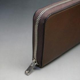 レーデルオガワ社製オイルコードバンのコーヒーブラウン色のラウンドファスナー長財布(シルバー色)-1-4