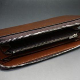 レーデルオガワ社製オイルコードバンのコーヒーブラウン色のラウンドファスナー長財布(シルバー色)-1-8