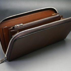 レーデルオガワ社製オイルコードバンのコーヒーブラウン色のラウンドファスナー長財布(シルバー色)-1-9