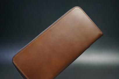 レーデルオガワ社製オイルコードバンのコーヒーブラウン色のラウンドファスナー長財布(シルバー色)-2-1
