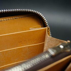 レーデルオガワ社製オイルコードバンのコーヒーブラウン色のラウンドファスナー長財布(シルバー色)-2-10