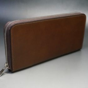 レーデルオガワ社製オイルコードバンのコーヒーブラウン色のラウンドファスナー長財布(シルバー色)-2-2