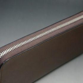 レーデルオガワ社製オイルコードバンのコーヒーブラウン色のラウンドファスナー長財布(シルバー色)-2-3