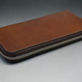 レーデルオガワ社製オイルコードバンのコーヒーブラウン色のラウンドファスナー長財布(シルバー色)-2-4