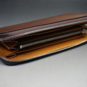 レーデルオガワ社製オイルコードバンのコーヒーブラウン色のラウンドファスナー長財布(シルバー色)-2-5