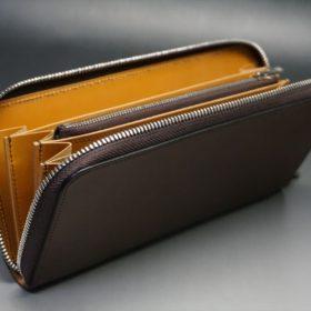 レーデルオガワ社製オイルコードバンのコーヒーブラウン色のラウンドファスナー長財布(シルバー色)-2-6