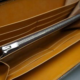 レーデルオガワ社製オイルコードバンのコーヒーブラウン色のラウンドファスナー長財布(シルバー色)-2-7