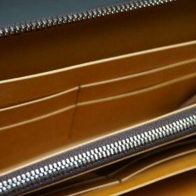 レーデルオガワ社製オイルコードバンのコーヒーブラウン色のラウンドファスナー長財布(シルバー色)-2-9