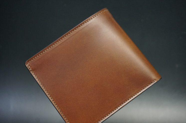レーデルオガワ社製オイル仕上げコードバンのコーヒーブラウン色の二つ折り財布(ゴールド色)-1-1