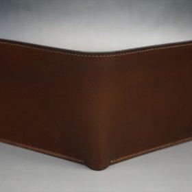 レーデルオガワ社製オイル仕上げコードバンのコーヒーブラウン色の二つ折り財布(ゴールド色)-1-2