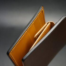 レーデルオガワ社製オイル仕上げコードバンのコーヒーブラウン色の二つ折り財布(ゴールド色)-1-3