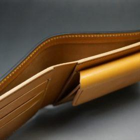 レーデルオガワ社製オイル仕上げコードバンのコーヒーブラウン色の二つ折り財布(ゴールド色)-1-4