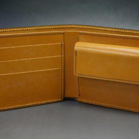レーデルオガワ社製オイル仕上げコードバンのコーヒーブラウン色の二つ折り財布(ゴールド色)-1-5