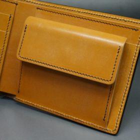レーデルオガワ社製オイル仕上げコードバンのコーヒーブラウン色の二つ折り財布(ゴールド色)-1-7