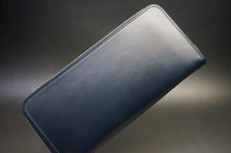 レーデルオガワ社製オイルコードバンのネイビー色のラウンドファスナー長財布(ゴールド色)-1-1
